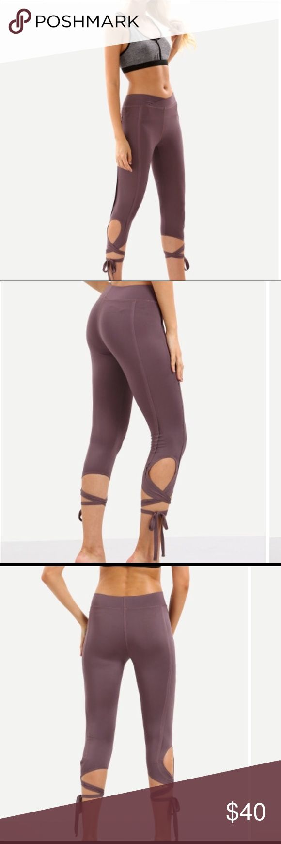 Purple tie leggings Work out in style!!!  For the gym or just lounging!!!  Super comfy & cute!!! Pants Leggings