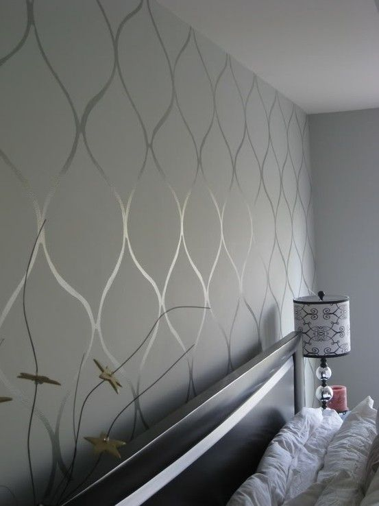 Design using high gloss paint of same wall color. For the strips in the spare bedroom re-do I Like this design, maybe different colour though