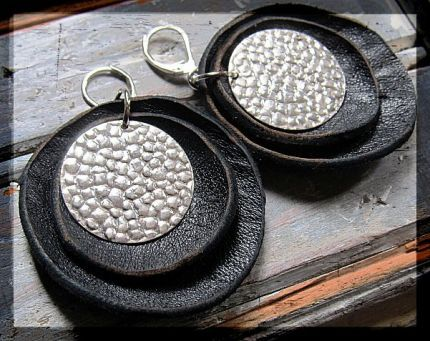 """An old leather jacket """"up-cycled"""" into leather earrings!"""
