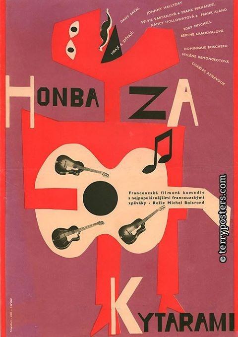 CZECH FILM POSTER-1966 - MOVIE ORIGIN: France/Italy AUTHOR: Karel Vaca ORIGINAL TITLE: Cerchez l'idole DIRECTOR: Michel Boisrond /Comedy, Musical