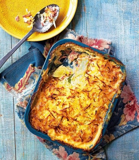 Leek-and-ham-hock-gratin-with-rosti-topping