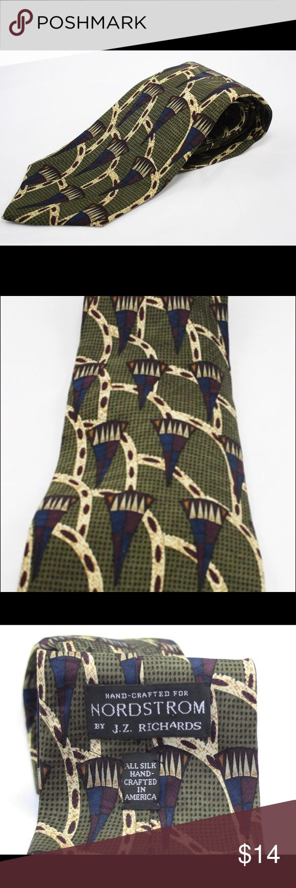 """Nordstrom 100% Silk designed by J.Z. Richards This is a very nice Nordstrom 100 %  silk tie designed by J.Z. Richards. It is olive green with blue and burgundy geometric designs. It is 56"""" in length and is 4"""" wide. Made in USA. Nordstrom Other"""