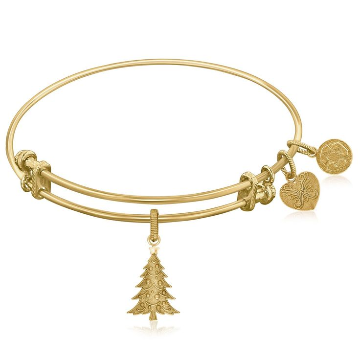 Expandable Bangle in Yellow Tone Brass with Christian Tree Oh Tannenbaum Symbol