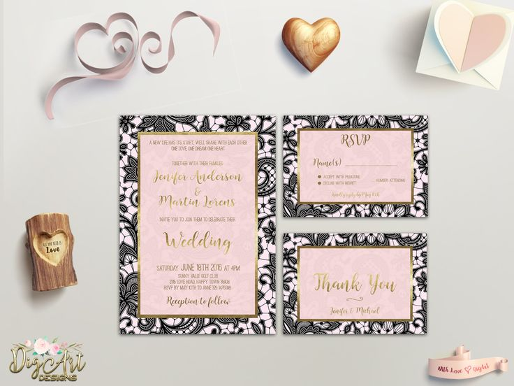 REPIN NOW for later! Black Lace Wedding Invitation Printable Wedding Invitation Suite Black Pink Wedding Invite Gold Pink Wedding Invitation Set DIY Digital FIle by DigartDesigns on Etsy