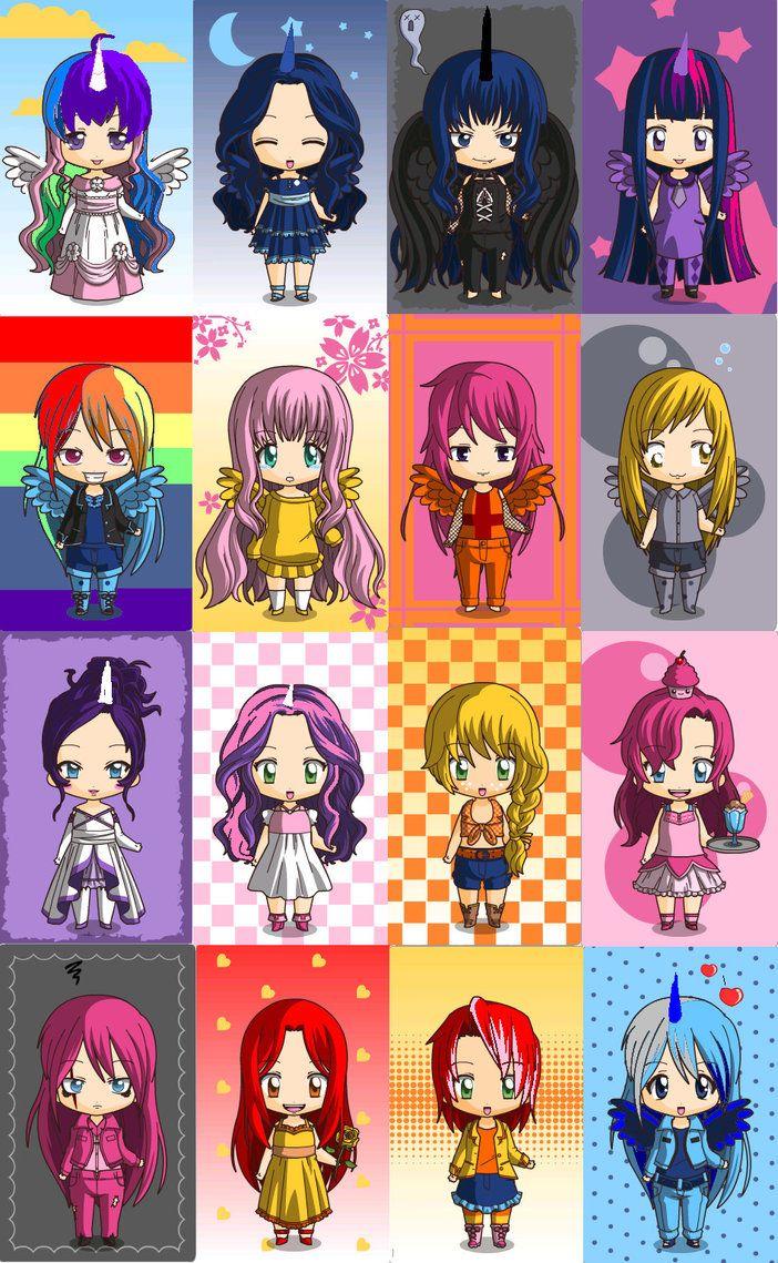 MLP Chibi Maker starting from the left names : Celestia, Luna,Nightmare Moon, Twilight, RD ,Fluttershy,Scootaloo,Muffins,Rarity,Sweety Belle, AJ, Pinkie pie,Pinkamena,Apple Bloom,Babs,Powered Luna.