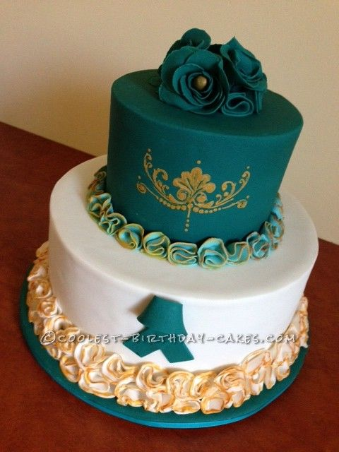 teal wedding cakes pictures coolest teal and gold cake coolest birthday cakes 20788