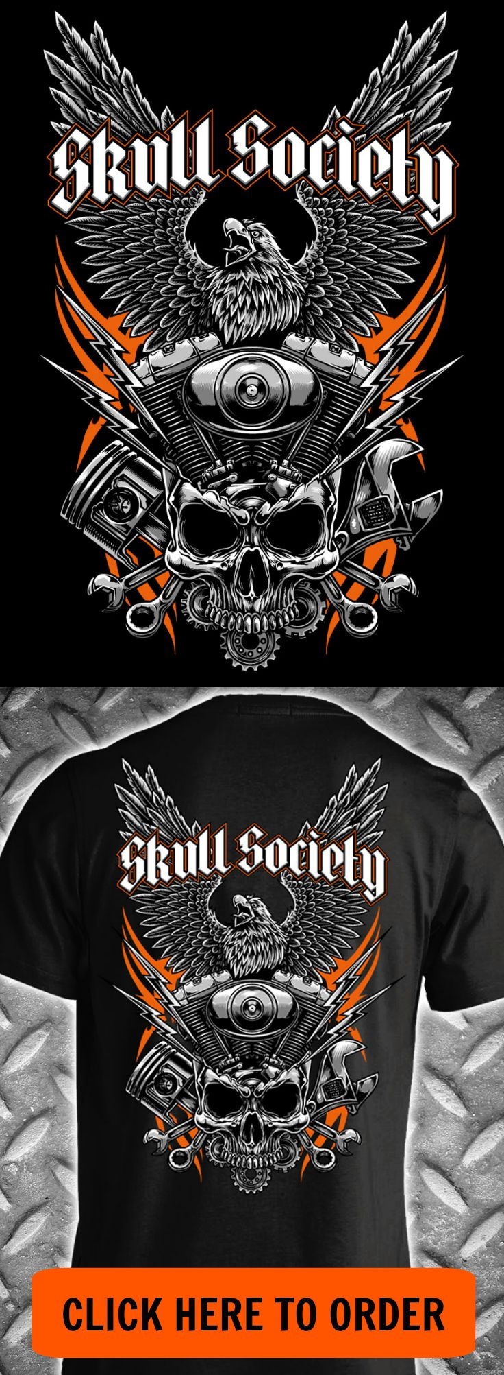 Iron Eagle Design is printed on the back of the shirt with a small Skull Society logo on front left chest. T-shirt and Long Sleeve printed on 100% Preshrunk Ultra Cotton. Pullover Hoodie is printed on
