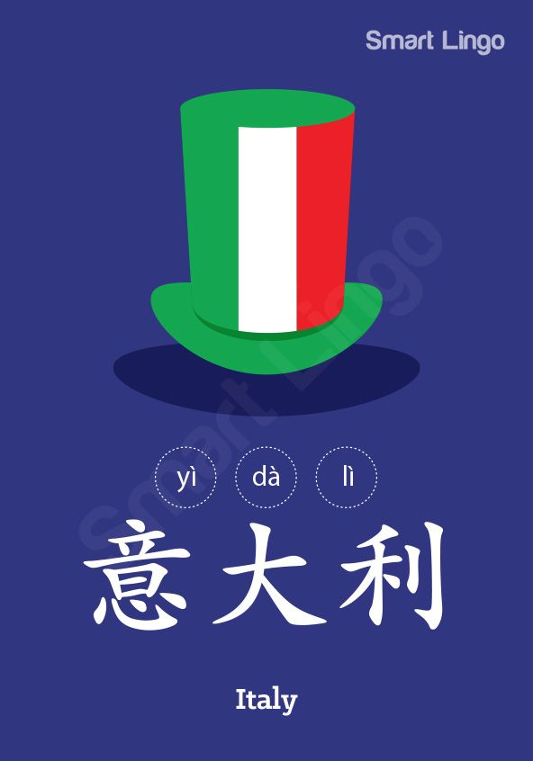 Italy: 意大利 (yì dà lì) Use the Written Chinese Online Dictionary to learn more Chinese.