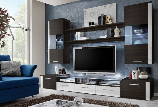 FRESH Modern Wall Unit / Entertainment Centre / Spacious and Elegant Furniture / Tv Cabinets / Tv Stand for Modern Living Room / High Capacity Living Room Furniture (Plum tree)