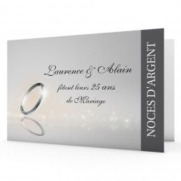 Noces d'argent - 25 ans de mariage, voilà une belle carte d'invitation  #invitation #annaiversaire