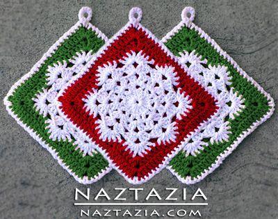 Free Pattern - Crochet Snowflake Hotpad Potholder dishcloth