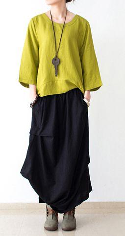 Unique asymmetrical linen maxi skirts plus size