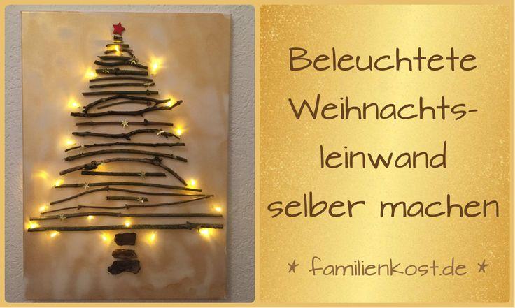 Wir zeigen euch, wie ihr aus Naturmaterialien, v.a. aus Stöcke, eine tolle Leinwand für Weihnachten selber machen und mit einer Lichterkette beleuchten könnt. Bei diesem DIY Projekt könnt ihr wunderbar eure Kinder miteinbeziehen. Hier geht es zur Anleitung für den Weihnachtsbaum: http://www.familienkost.de/artikel_weihnachten_leinwand_lichterkette.html