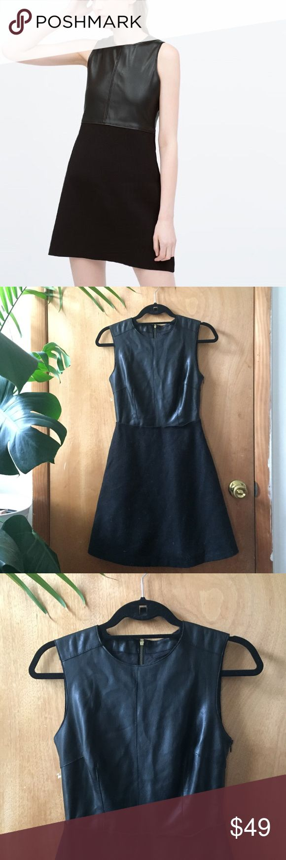 Zara leather and wool dress - XS Zara faux leather top with invisible side zipper and gold back zipper, wool flared skirt. Worn once. Size XS. Zara Dresses