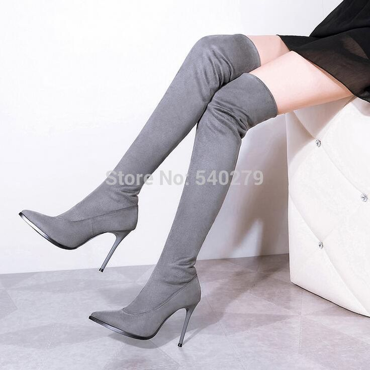 Women Boots Black Grey Wine Suede Over The Knee Boots Winter Warm Botas Sexy Lady Stiletto Slim Fit Stretch Booties Mujer Shoes