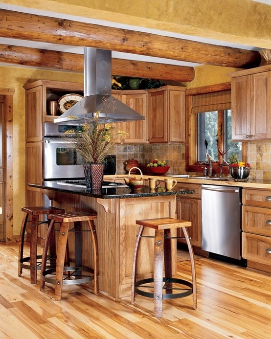 Top 25 ideas about kitchen design on pinterest tropical for Log home kitchen designs