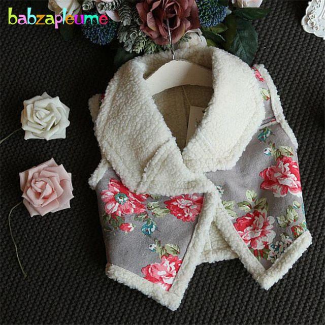 Otoño Invierno Nuevos Niños Niñas Espesar ropa de Abrigo Chaleco de La Manera Flor de Impresión de los Bebés Chaqueta Chaleco Caliente Ropa Infantil A023