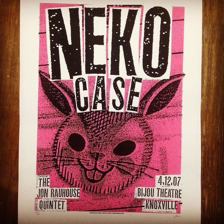 """#printmafia #printmafiaoffical #printmaking #bunny #rabbit #gigposter #concertposter #poster #screenprint #screenprinting #nekocase #thejonrauhousequintet #bijoutheatre #knoxville #2007 #cutpastedestroy Neko Case gigposter using a photo copy of a vintage Paas Easter egg package."" by printmafiajim"