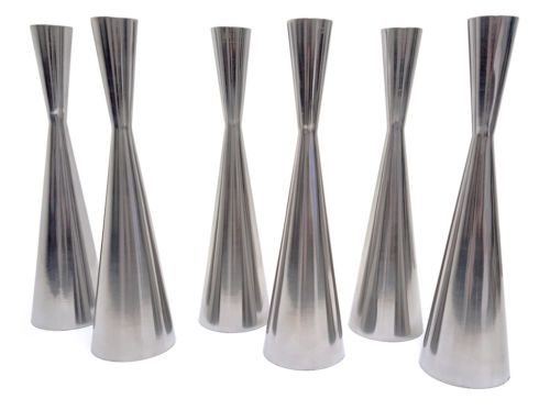Set-Of-6-Brushed-Aluminium-Modern-Stylish-Candle-Stick-Holders-225mm-Tall #HarvardMills #LordOfTheLinens #candles #candlesticks #candleholders #modern #midcentury #boudoir #stylish #chic #contemporary #mood #moodlighting #home