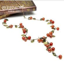 Free shipping retro red cherry long necklace for women vintage collar jewelry accessories colares femininos(China (Mainland))