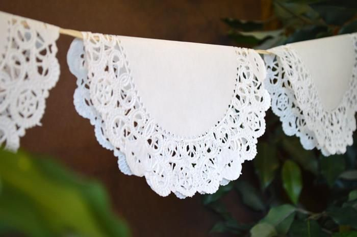 banner at a shabby chic party, can use paper doilies instead