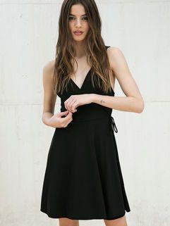 Fashion V Neck Women Black Backless Dress