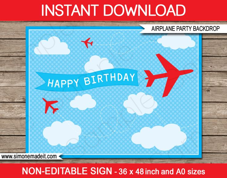 Printable Airplane Party Backdrops | Party Decorations | DIY Template | INSTANT DOWNLOAD $4.50 via simonemadeit.com