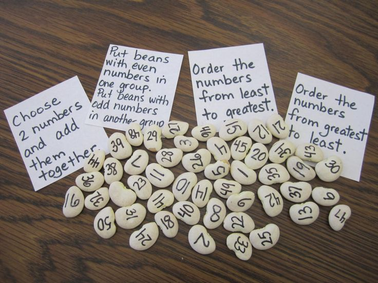 Bean activity for number sense...make numbers bigger...each bean is a digit...many possibilities to create games...