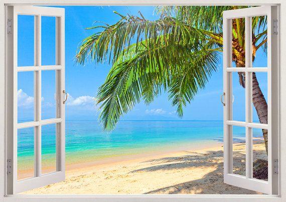 Palm tree beach wall decals 3D window by 3DWindowWallStickers