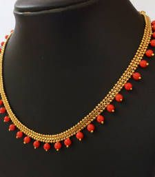 Orange Beaded Necklace   Handmade Beaded Necklace In Gold Plated Chain.  Indian Jewellery Designs Jewellery