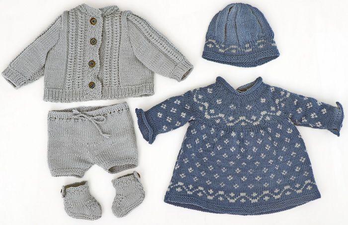 Poppenkleertjes breien baby born - Een lente uitzet voor de pop - in blauw en grijs