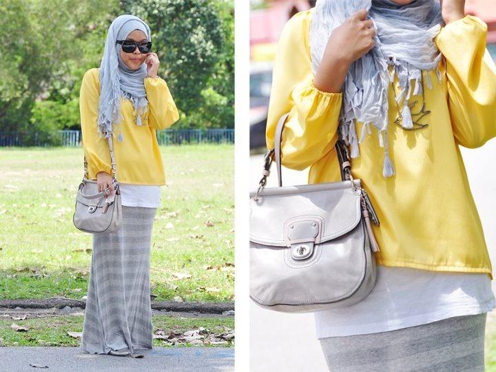 Hijab Fashion ..nice way to make shirt longer