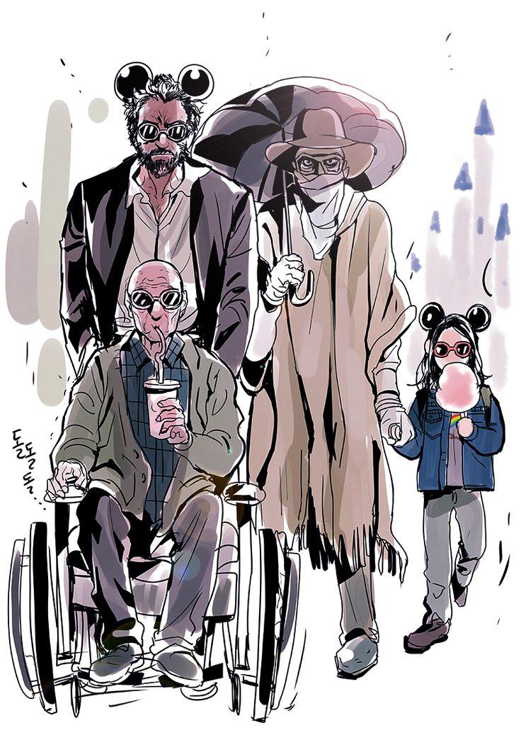 Logan, Laura, Charles and Caliban at Disneyland