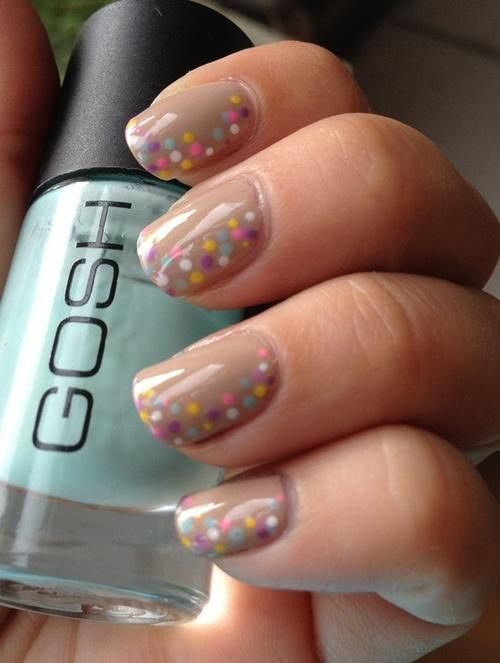 This design is so cute and just about anybody can put dots on their nails.  Think random pattern here.............
