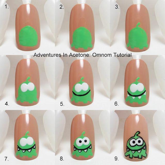 Adventures In Acetone: Tutorial Tuesday: Omnom Nail Art! http://www.adventuresinacetone.com/2013/08/tutorial-tuesday-omnom-nail-art.html