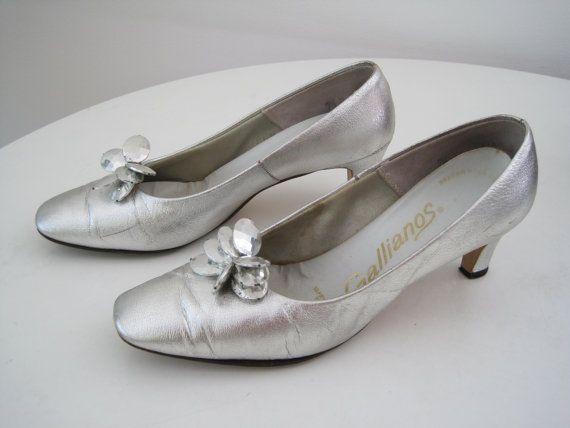 Vintage 1950s Silver Heels Metallic Silver Pumps by VintageJetSet, $25.00