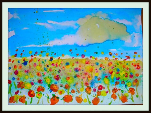 a short lesson on Impressionism through the book, Ish, by Peter Reynolds  Fine Lines: 1st Grade art lessons - several on this blog. This one is with watercolors; using qtips and fingerprints for flowers.