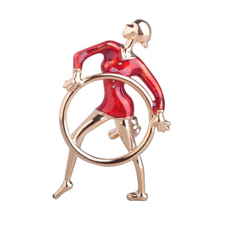 Wholesale Russian Olympic Sport Girls Brooches Gold Color Circle Figure Brooches For Bag Ladies Kids Small Collar Clip Up Pins #Affiliate