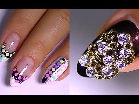 Дизайн ногтей. Рисунки на ногтях. Украшения для ногтей. - YouTube