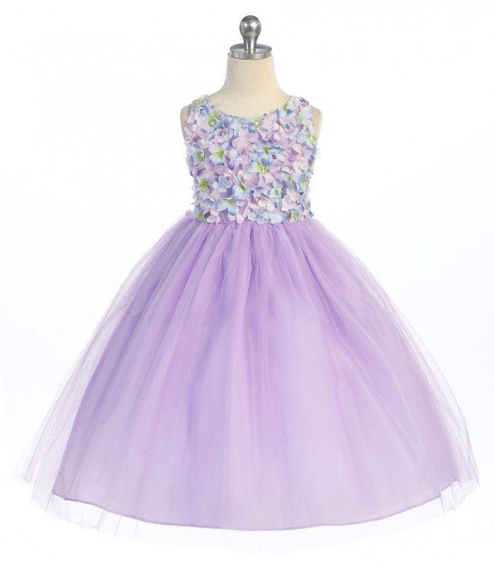 BIMARO Mädchen Kleid Rosalie flieder lila Blüten Perlen Tüll festlich Hochzeit Blumenmädchen Tüllkleid pastell – Bild 2