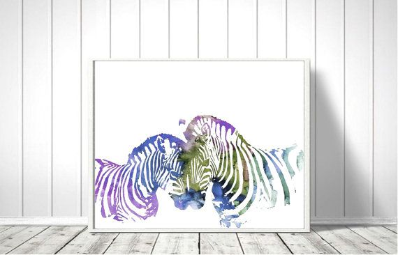 Zebra Watercolor Art Print Zebra Print Home Wall Décor by QPrints