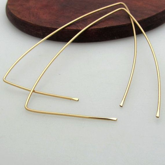 Gold Triangle Hoop Earrings  Large Geometric by NadinArtDesign