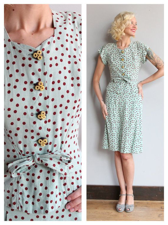 ~1930s 2piece Set ~Jacket Blouse with adorable floral buttons ~Waist tie front ~Short sleeves with shoulder pads ~Aline skirt with side buttons