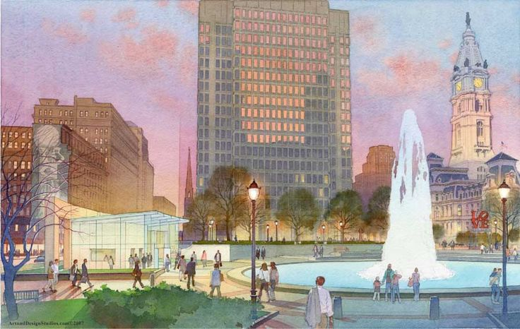architectural rendering in watercolor - Love Plaza