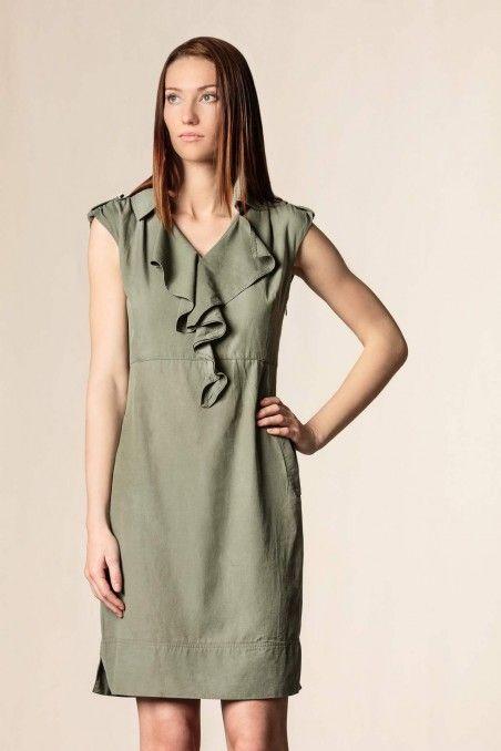 Vestito con ruches vita alta verde oliva