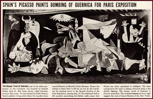 1937 IMAGE OF PICASSO'S THE BOMBING OF GUERNICA, SPAIN (newspaper clipping)