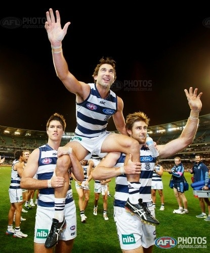 Boris (corey enright) being chaired off ground after game 250 May 2013