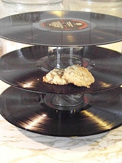 Using records as a tiered serving platter - if you are using anything with much weight to it, the tiered platters won't really work, most records aren't thick enough to hold the weight without bending down