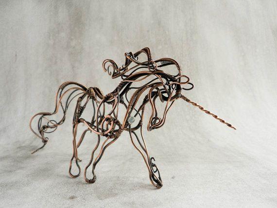 Metal Sculpture Unicorn - Wire Atr Sculpture