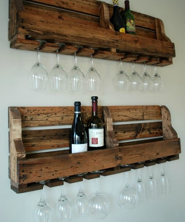 rustic style wine bottle rack glass holdes pallet wood DIY ideas